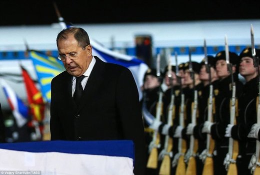 Sergei Lavrov paid his respects at the ceremony in Moscow